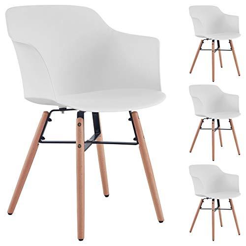 Esszimmerstuhl Izan im 4er Pack, Stühle Esszimmer Küchenstuhl Essstuhl, Kunststoffschale in weiß, Hölzfüße in Natur