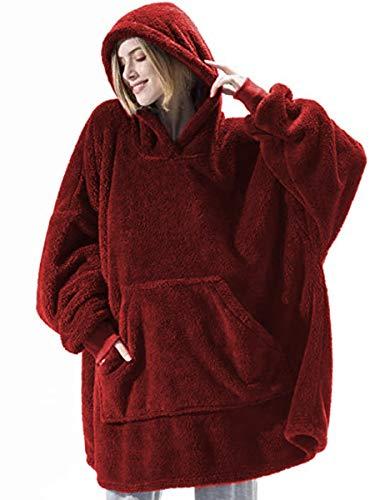 Sudadera con capucha, de gran tamaño, suave, gigante, con capucha, con capucha, bolsillo frontal, para invierno, cálido, para hombres, mujeres, niñas, niños