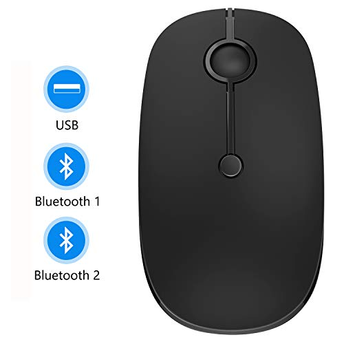 Bluetooth Mouse, Jelly Comb MS02B Triple Mode(BT 4.0+ BT 4.0+ USB) Rechargeable Bluetooth Mouse for iPad, Laptop, MacBook, PC- for iPad OS 13/ Windows 8.0/ MacOS 10.10/ Android 4.3 or Later