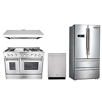"Thor Kitchen 4-Piece Bundle with 48"" 6 Burner Stainless Steel Gas Range, 48"" Under Cabinet Range Hood, 36"" Franch Door Fridge and 24"" Dishwasher"