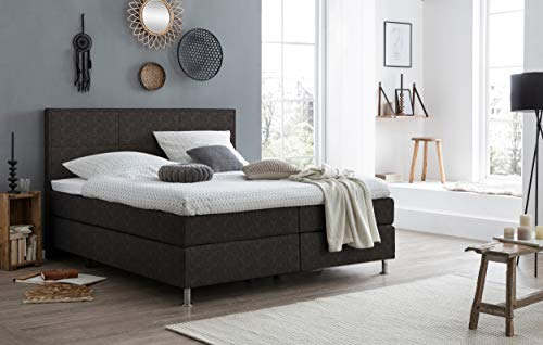 FELIX BETTEN Box Spring Bed 180 x 200 cm in Cosmic Anthracite 7 cm Topper 7 Zone Pocket Spring Core Hardness H2 H3