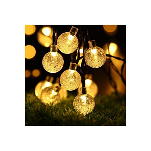 LSZ Solar Light Bubble Ball LED Waterproof Christmas Day Decoration Ball Light String Light Nativity Décor (Color : Warm Light)