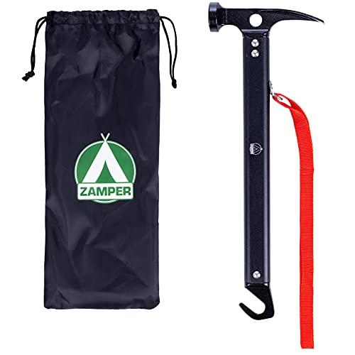 Zamper Martillo de camping con extractor de piquetas, martillo de tienda de aluminio, con bolsa, herramienta de trekking y herramienta para exteriores
