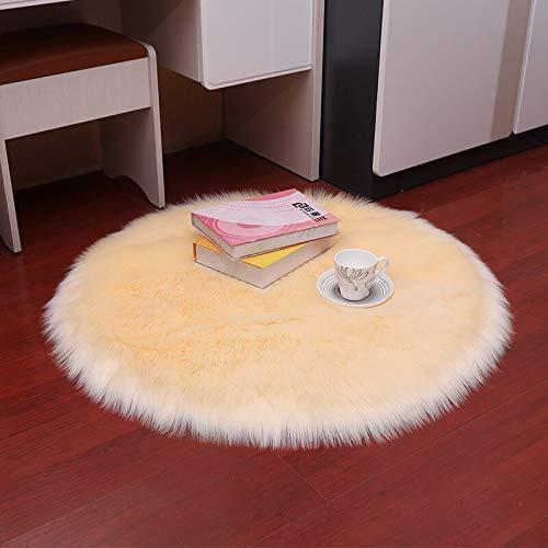 YIWOYI Alfombra de piel sintética, circular, 30 x 30 cm, alfombra de piel de oveja artificial para dormitorio, alfombra de lana artificial, asiento de piel textil, alfombra (beige, 30 x 30 cm)