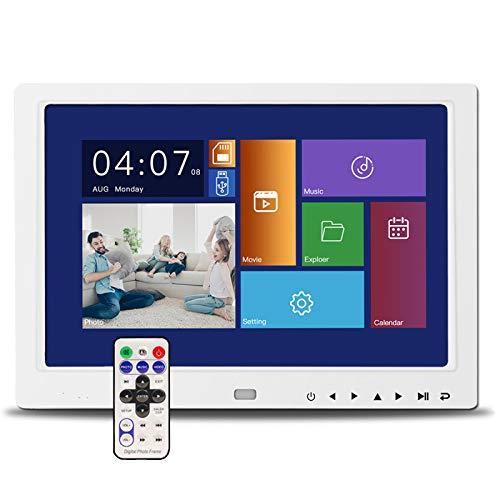 WWWL Marco de fotos digital de alta definición de 10.1 pulgadas, multifunción USB, reproductor de tarjetas SD, MP3MP4, calendario y mando a distancia, 10.1 pulgadas, color blanco
