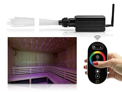 LWL-RGBW-Sternenhimmelset mit Funkfernbedienung und Netzteil mit 150 Lichtpunkten, 16W Lichtgenerator für Decken aller Art für Sauna und Pool