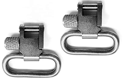 Detroit Leather Shop Pair Nickel Silver Finish 1 Inch Tri-Lock Rifle Sling Swivels