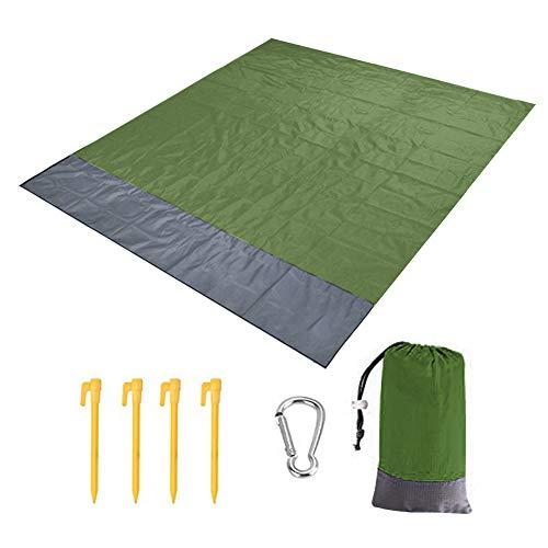 Manta de playa, extra grande, 200 x 140 cm, impermeable a prueba de arena con 4 clavos fijos, manta de playa ligera y suave con bolsa de transporte para viajes, camping, senderismo