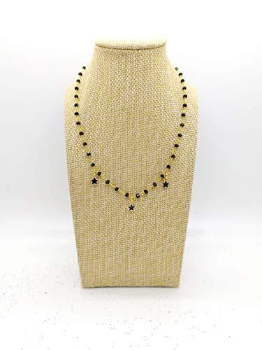 CHOKER Collana girocollo stile rosario con filo colore oro, cristalli neri e stelline