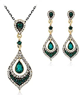 Drop Glass Rhinestone Wedding Lady Dress Necklace Earrings Jewelry Set