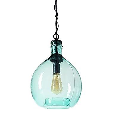 CASAMOTION Wavy Hammered Hand Blown Glass Pendant Light, 1 hanging Light, 11'' diam.16.9''h, Sea Green