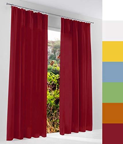 Voile Gardine nach Maß, Kräuselband, Halbtransparent, Vorhang nach Maß, Store Webstore (Rot, 135x145cm /HxB)