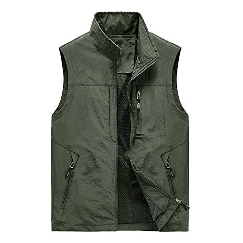 Chaleco de múltiples bolsillos de los hombres sin mangas delgada primavera color sólido chaqueta de trabajo chaleco verano chaqueta
