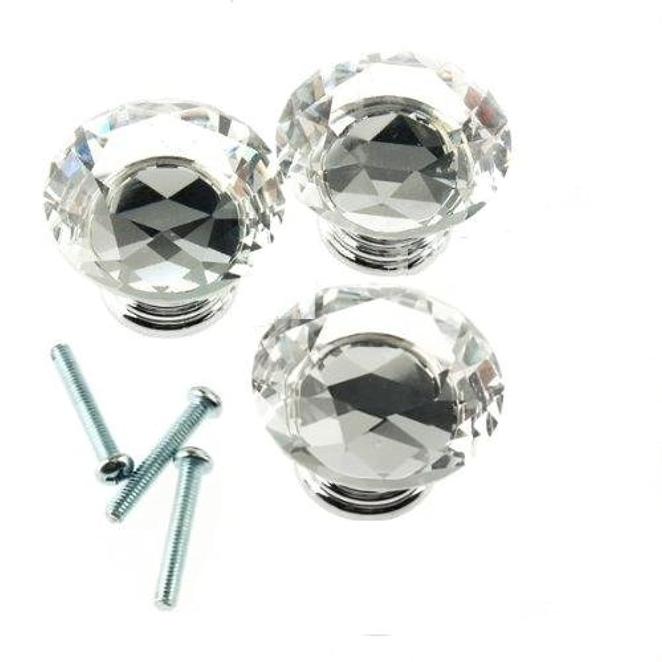 HOSL 10PCS 40mm Diamond Shape Crystal Glass Cabinet Knob Cupboard Drawer Pull Handle/Great for Cupboard, Kitchen and Bathroom Cabinets, Shutters, etc (10, 40MM)