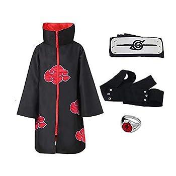 WAWNI Naruto Costume Akatsuki Cloak Cosplay Sasuke Uchiha Cape Anime Itachi Clothing Cosplay Jacket S-XXL  One Set,Adult L