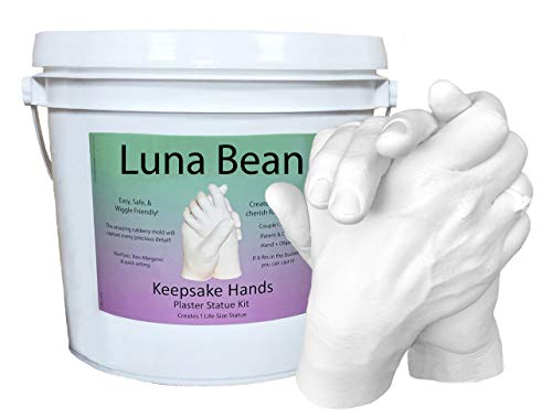 Luna Bean LARGE Keepsake Hands Casting Kit | DIY Plaster Statue Molding Craft Kit for COUPLES, Adult & Child, Wedding, Anniversary Gift