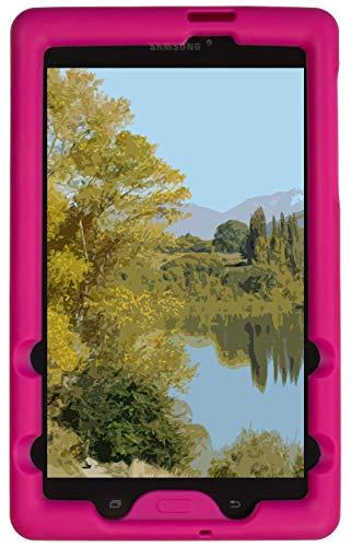 BobjGear Bobj Rugged Case for Samsung Galaxy Tab E 8.0 (SM-T375, SM-T377, SM-T378) Custom Fit - Patented Venting - Sound Amplification - BobjBounces Kid Friendly (Rockin' Raspberry) (Renewed)