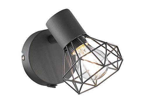 Lampe murale RAN avec filament LED - Gris mat - Abat-jour en grille - Spot orientable - Culot E14