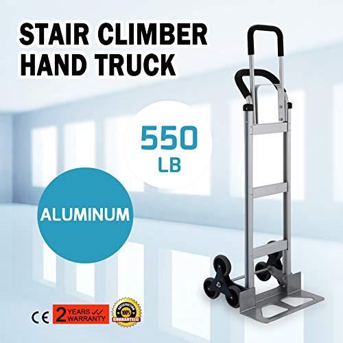 Anhon Carretilla Plegable 250 kg Trolley para Escaleras con 6 Ruedas para Escaleras 6 Ruedas Portaequipajes Manual por Escaleras Elevadora