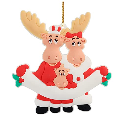 OSELLINE Navidad Alce Familia DIY Nombre Colgante Colgante Ornamento Árbol de Navidad Decoración Regalo 3 #