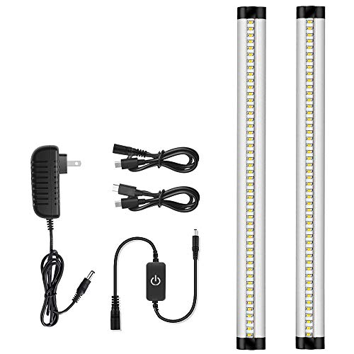 Solarlang LED Under Cabinet Light, Ultra Thin Design, 10W CRI90+, 900 Lumens, Pure White 3000K, Kitchen Cabinet Strip Lights with Touch Dimmer Switch, 2 Pack