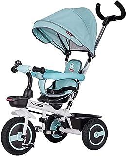 Barnvagn bärbar och lätt barnvagn trehjuling för småbarn och barn i åldern 3-5 år, 3 hjul pedalbuss med uppblåsningsfria d...