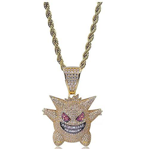 Hip Hop Iced Out - Collar de cristal con diamantes de imitación, chapado con colgante Killy Gengar cadena con cuerda de acero inoxidable de 24 pulgadas para hombres y mujeres (oro)