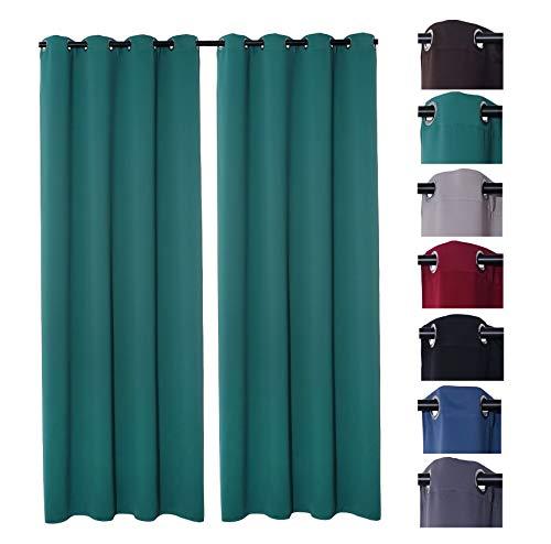 PremiumShop321 2er Pack Verdunklungsvorhang Gardinen mit Ösen, Blickdicht 140x245 cm Vorhang Verdunkelung Midnight (Petrol)