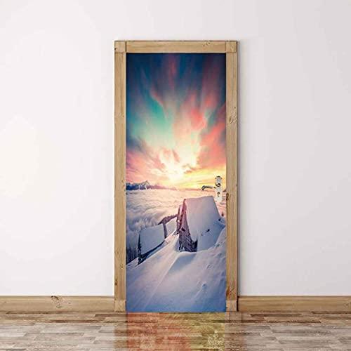 NXCNTD 3D Etiqueta De La Puerta Escena de nieve blanca en invierno Impermeable Extraíble Bricolaje Pintura Mural Murales Autoadhesivos Papel Tapiz Interiores Puerta Del Dormitorio Decoracion 77x200cm