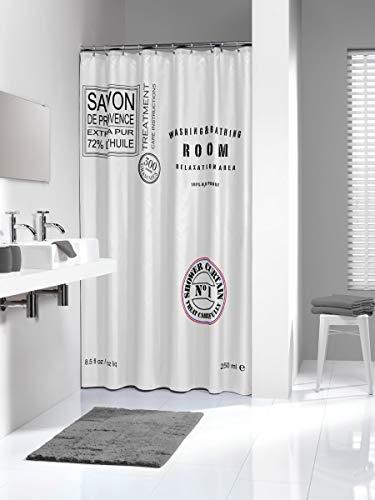 Sealskin Textil Duschvorhang Savon de Provence, Farbe: Weiß, B x H: 180 x 200 cm