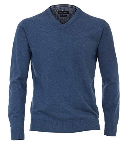 CASAMODA 004430 Pull pour homme avec col en V Couleur unie Taille élastique - Bleu - Large