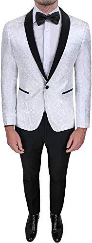 Evoga Abito Completo Uomo Sartoriale Bianco Tessuto Raso Damascato Floreale Slim Fit Vestito Smoking Elegante (48, Bianco)