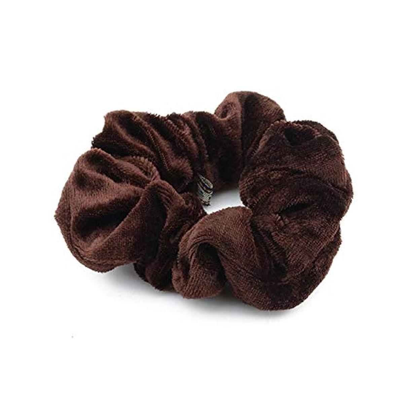 Hairpinheair YHM 5ピースベルベットソリッドカラー弾性ヘアバンドポニーテールホルダースクランティネクタイヘアゴムバンドヘッドバンド(ディープブルー) (色 : Dark Brown)