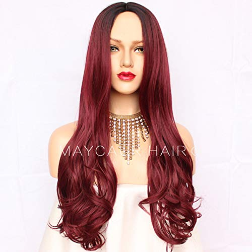 Maycaur Black Burg Ombre Color None Lace Wigs Synthetic Hair Heat Resistant Fiber Wig Long Wavy Red Synthetic Wigs For Women 24 inch (Burg Wavy None L
