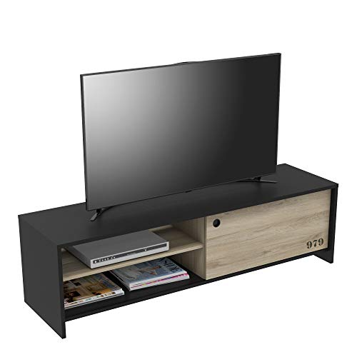 DEMEYERE Mesa para TV Tomy salón Color Negro y kronberg Comedor Estilo Industrial Moderno Mueble 43x152x42 cm
