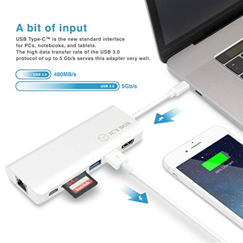 ICY BOX USB-C Adapter für Notebooks und Tablets mit HDMI, 2x USB 3.0, Power Delivery, Kartenleser, LAN, Aluminium, USB-C Hub, USB-C Dock