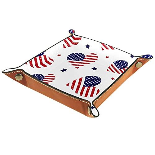 Bandeja organizadora de escritorio Catchall Bandeja de valet para hombres y mujeres Bandeja de llaves para limpieza de monedas de mesa para oficina en casa bandera de EE.UU