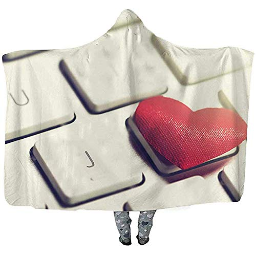 L.R.D Rode harten op een toetsenbord gooien draagbare capuchon deken, volwassen dubbele verdikking draagbare deken, liefde of valentijnsdag concept 50