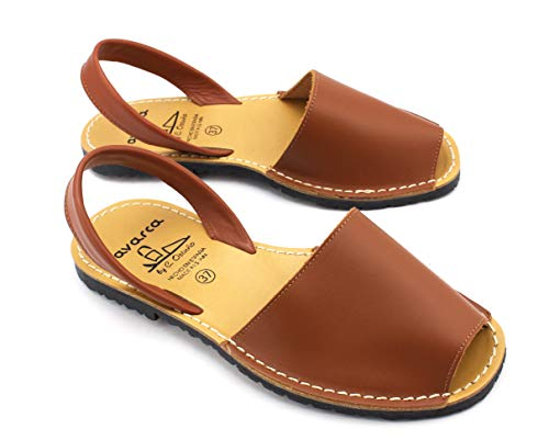 Avarcas dames leren sandalen plat Menorquinas bruin 35 36 37 38 39 40 41 42