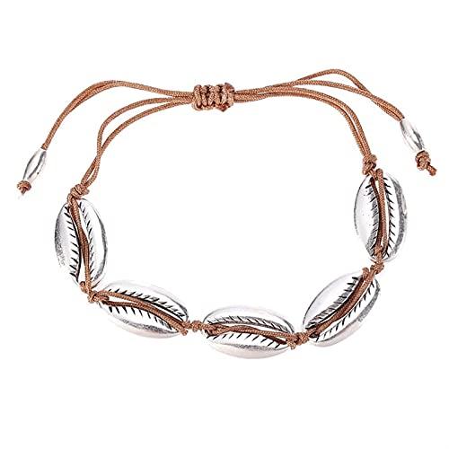 LIRRUI Rope Retro BRAIDADO Cowry Cowry Pulsera Boho Antiguo Metal Seashell Shell Bracelet Pulsera de cordón Ajustable (Metal Color : Plata, Size : Gratis)