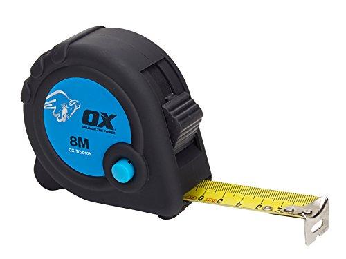 OX Tools OX-T029108 Cinta Comercial 8M-Métrico, Negro/Azul, 8 m