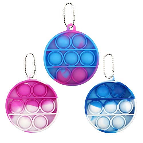 3 Pack Mini Push Pop Bubble Sensory Fidget Toy Keychains,Stress Relief Silicone Squeeze Sensory Popping Fidget Toy,Anti-Anxiety Tools for Autism & Special Needs for Kids & Adults(Tie Die Pink Blue)