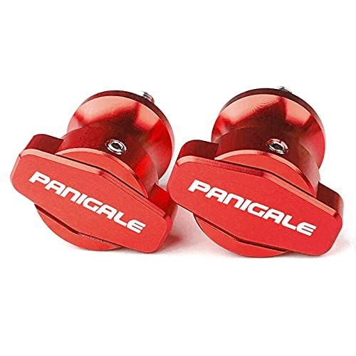 Marco CNC De Motocicleta 6MM Soportes Tornillos Deslizadores Basculante Carretes Deslizador para D-UCATI 899 Panigale 959 Panigale 1199 1299 con Logotipo (Color : Rojo)