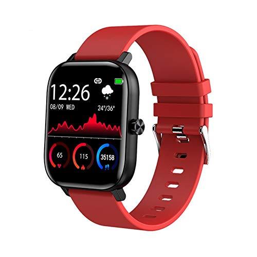 Nuevos Hombres Reloj Inteligente Pulsera Hombres Mujeres Deporte Reloj Ritmo cardíaco Monitor Sueño Monitor Bluetooth Llamada SmartWatch para teléfono (Color : Red)