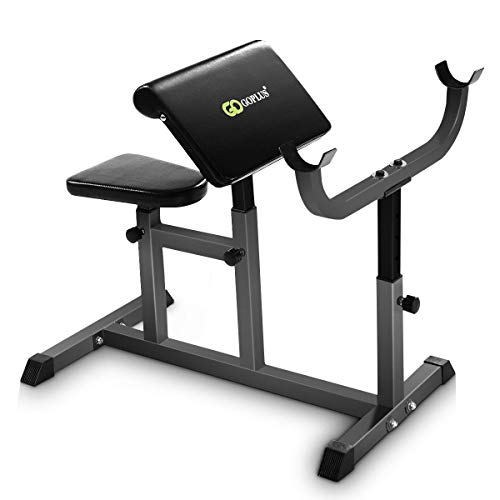 GOPLUS Preacher Curl Weight Bench Seated Arm Isolated Barbell Dumbbell Biceps Station (Black)
