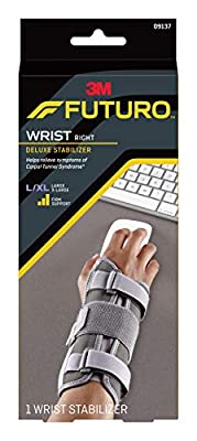 Futuro Deluxe Wrist Stabilizer, Firm Stabilizing Support, Right Hand, Large/X-Large, Gray