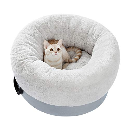 Eono by Amazon Cat Sofa Cute Cat Bed Round Cat Basket Soft Warm Plush Cat Bed for small medium Cat Grey 19.7 * 19.7 * 10.6 Inch