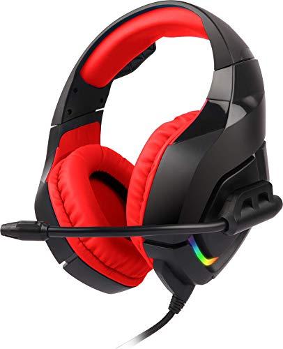 ZEBRONICS Zeb-Rush Premium Gaming Headphone with RGB Lights and 40mm Neodymium Drivers(Red), (Model: Zeb- Rush (Red))