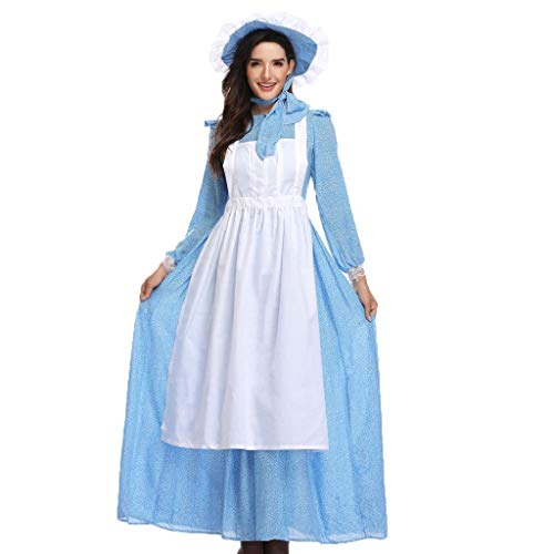 Zylione Damen Langarm Kleid Party Feast Kleid Oktoberfest Kostüm 3tlg Lange Kleid mit Kopfschmuck und Schürze Dienstmädchen Kostüm Rustikaler Stil für 2019 Oktoberfest Karneval