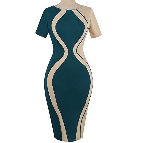 Janly Clearance Sale Vestidos para mujer de verano, mujer, sexy, manga corta, fiesta, estilo de negocios, mini vestido de manga corta impreso, para invitados de boda, mujeres (verde-XL)
